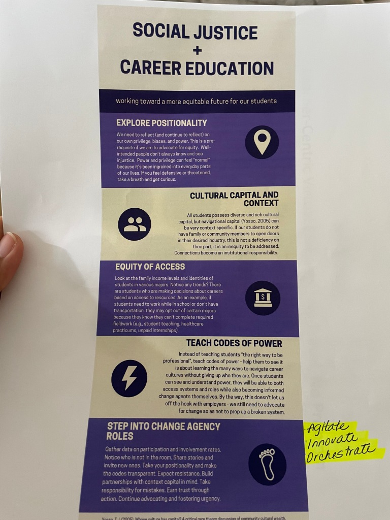 Social justice and career education infographic